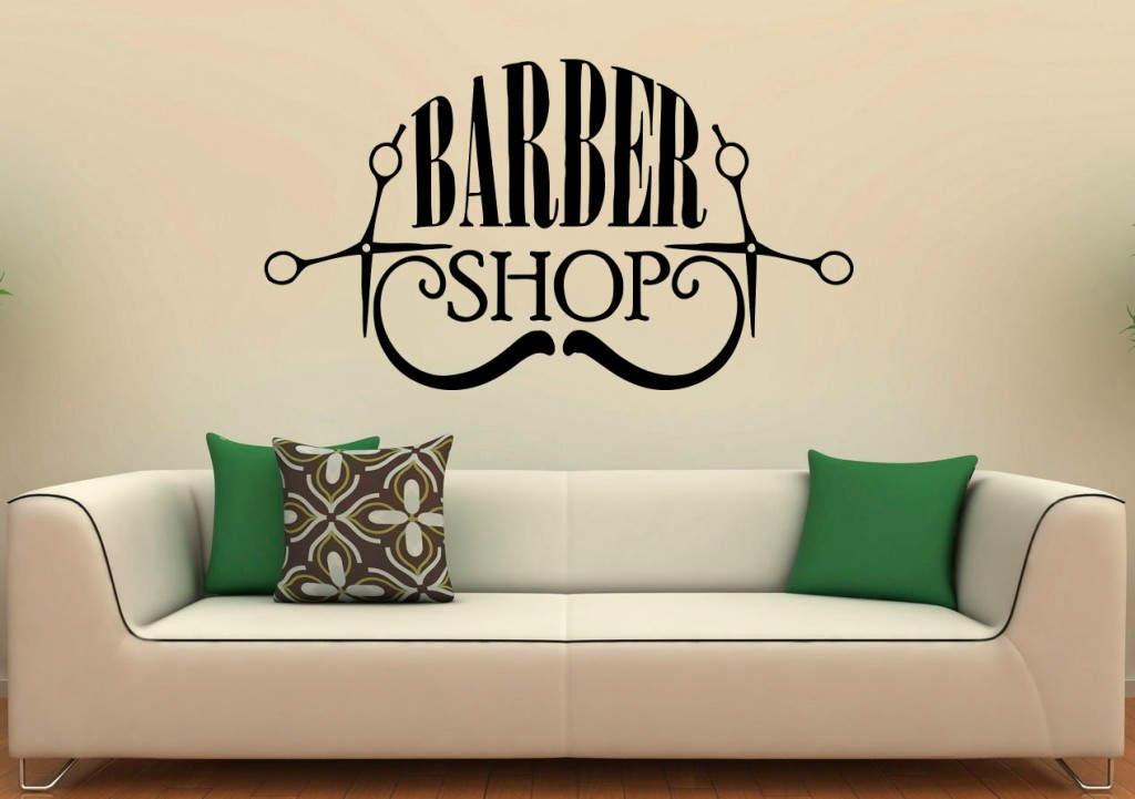 Stencil τοίχου με την επιγραφή Barber Shop.
