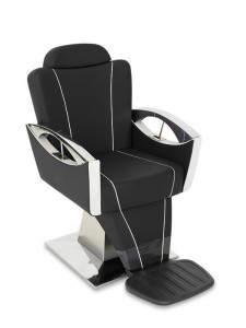 Barber armchair EXCELSIOR: Καρέκλα μπαρμπέρη σε φουτουριστικό σχέδιο, υδραυλική βάση και θέση για πόδια και κεφάλι. ΔΙΑΘΕΣΗ: ΑGV GROUP