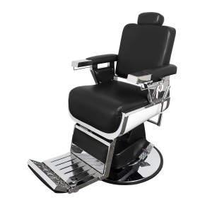 Pibbs 660 Grande Hydraulic Barber Chair: Καρέκλα μπαρμπέρη με υδραυλική βάση, σε μαύρο δέρμα.