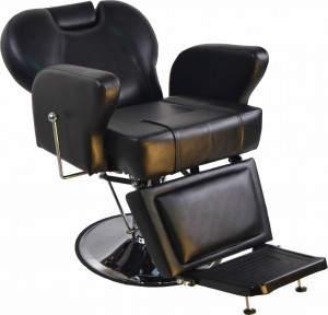 Hydraulic Recline Barber Chair: Καρέκλα μπαρμπέρη με ενισχυμένο δέρμα, θέση για κεφάλι και πόδια και υδραυλική βάση.