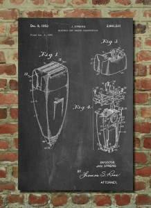 Διακοσμητικό poster τοίχου, με το blueprint μιας ξυριστικής μηχανής.